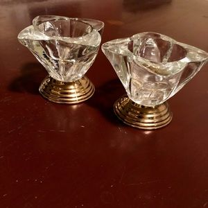 2 Piece Crystal Glass/Gold Brass Candle Holders